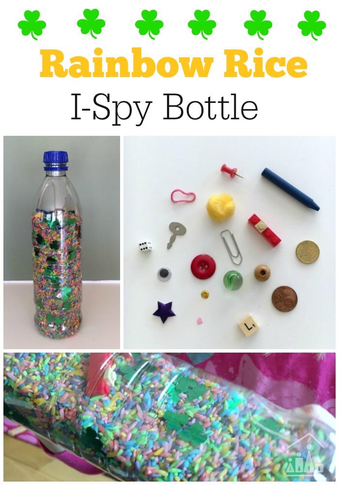 Rainbow Rice I Spy Bottle for St Patricks Day