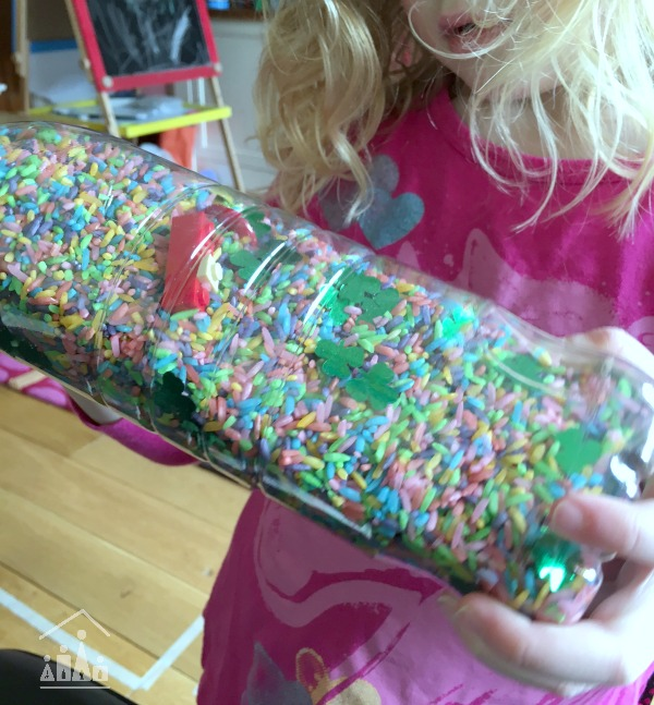 St Patricks Day Rainbow Rice I-Spy Bottle