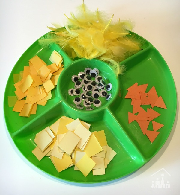 set up for invitation to make a spring chick craft