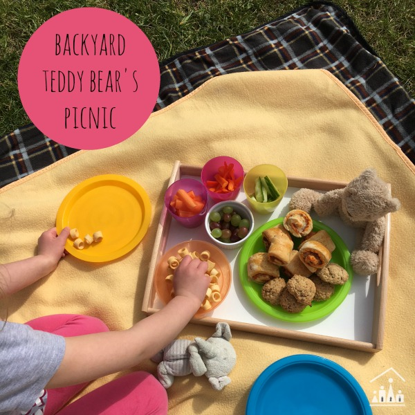 Eating a Backyard Teddy Bears Picnic