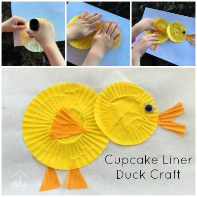 Cupcake liner duck craft