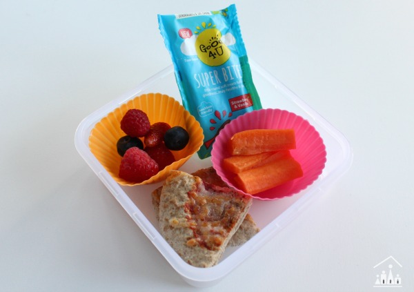 Healthy school lunch with pitta bread berries and carrot sticks
