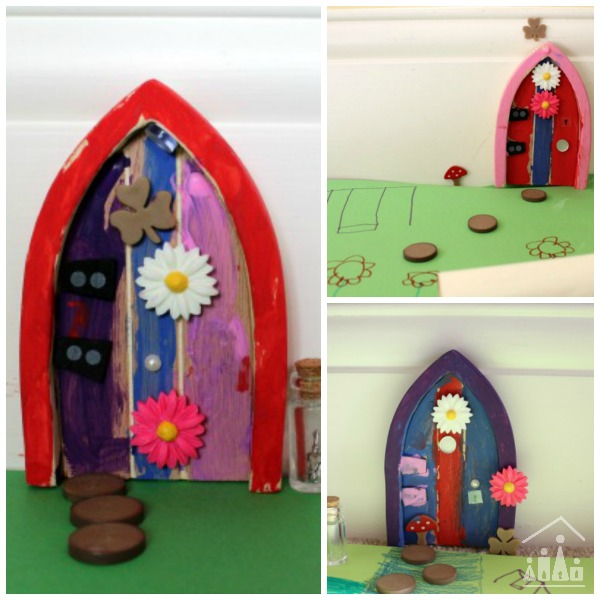 Paint your own fairy door crafty kids at home for Painted fairy doors
