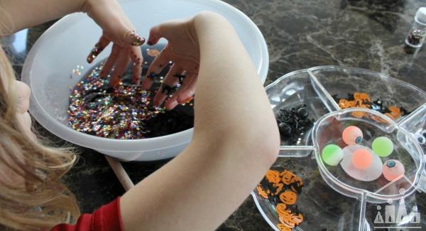 Child making a pretend potion
