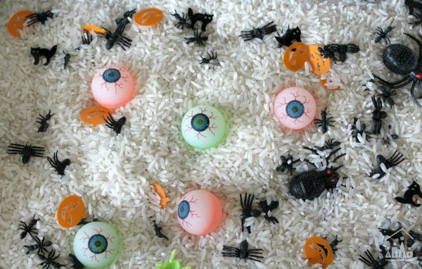 Spooky themed rice based sensory bin
