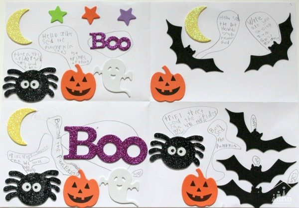 Halloween foam stickers used as a story writing prompt