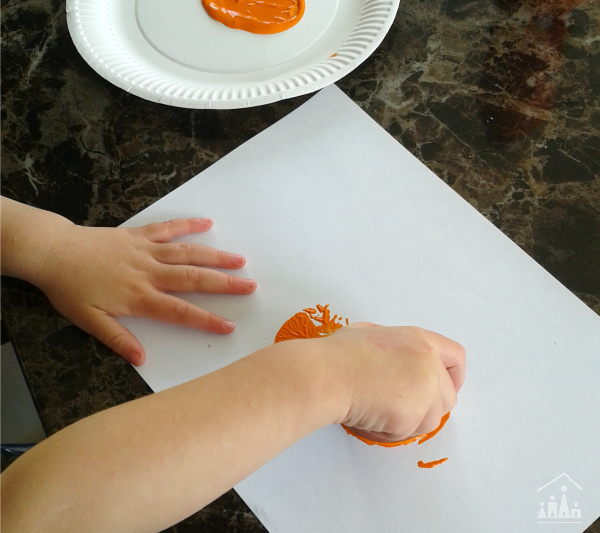 Painting Potato Print Pumpkins