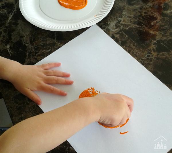 Painting Potato Print Pumpkins