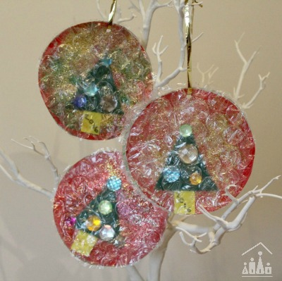 Christmas baubles made from Bubble Wrap