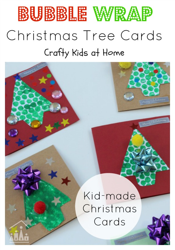 Bubble Wrap Christmas Tree Cards for kids to make