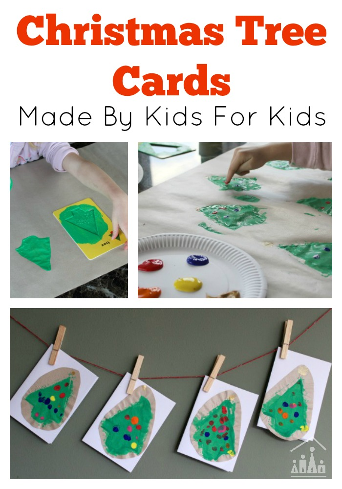 Christmas Tree Cards made by kids for kids