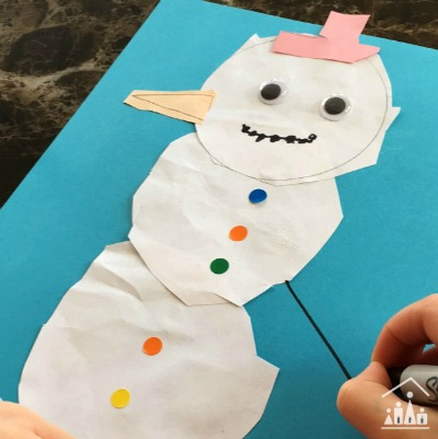 Snowman Cutting Collage for kids reluctant to use scissors