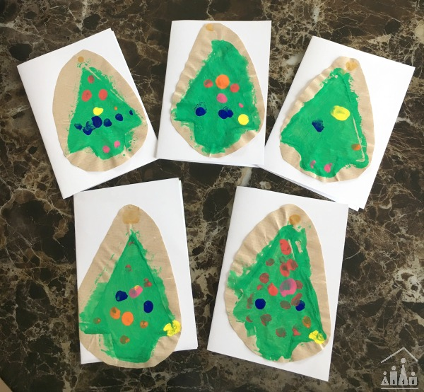Sponge Painted Christmas Tree cards for kids to make