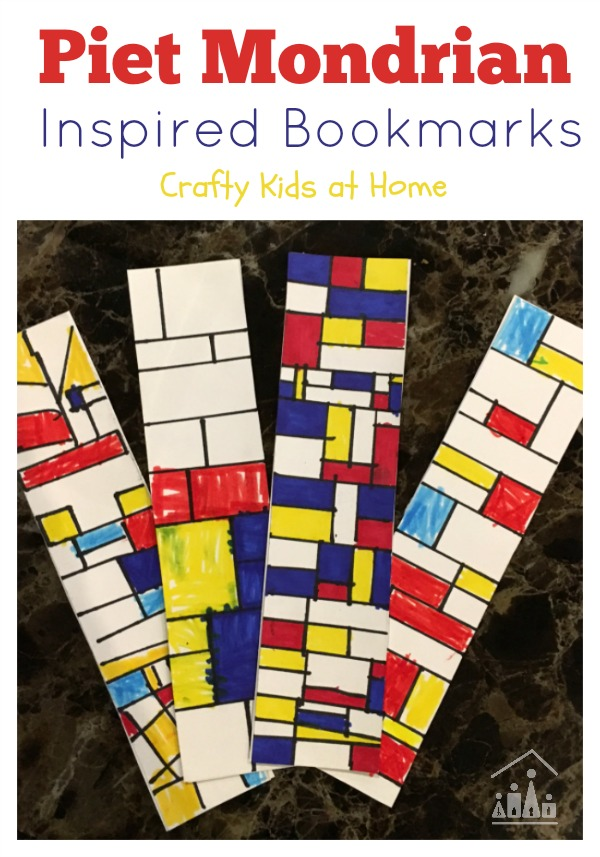 piet mondrian inspired bookmarks crafty kids at home. Black Bedroom Furniture Sets. Home Design Ideas