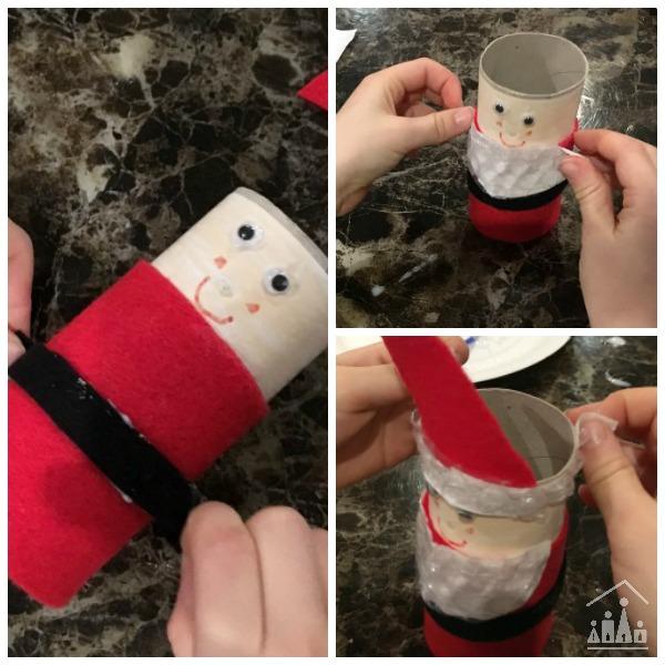 Making a cardboard roll Santa craft