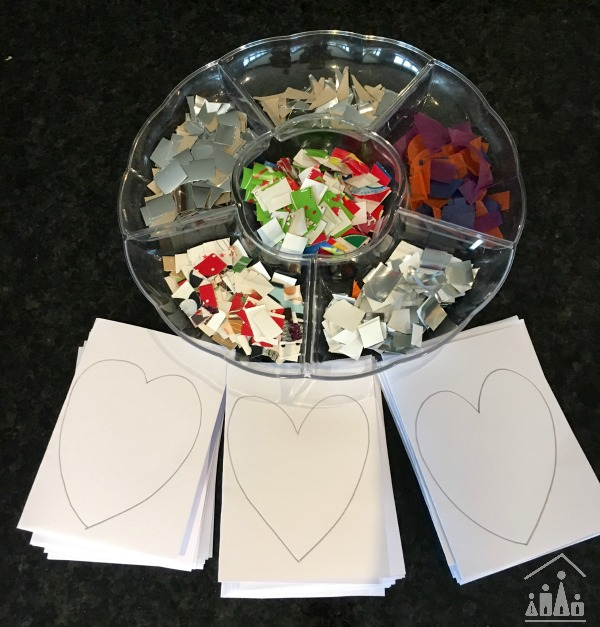 Set up to make Christmas Thank You cards with kids