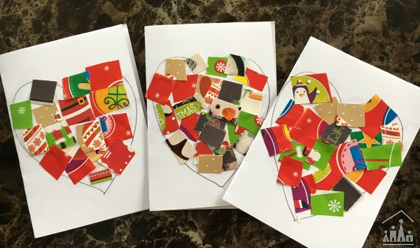 Kid-made Thank you cards made from Christmas cards