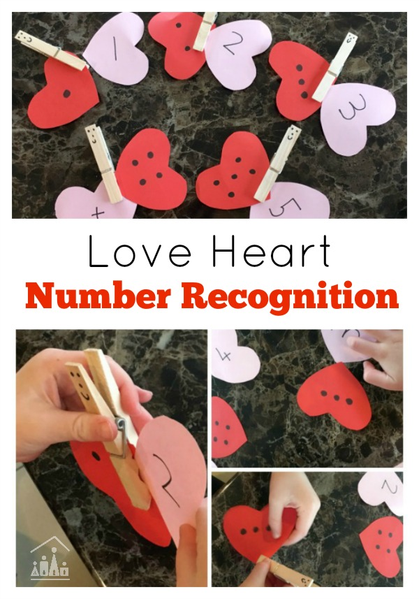 Love Heart Number Recognition Fine Motor Skills Activity