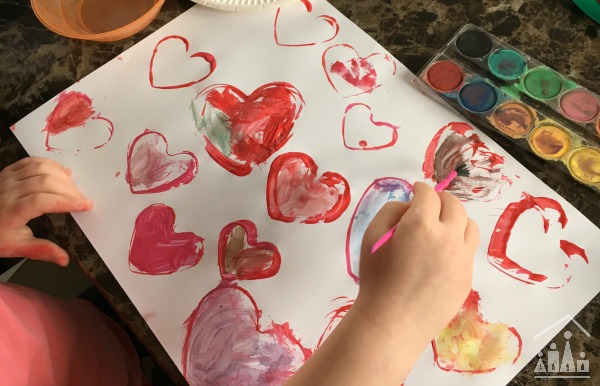 Kids Painting Water Colour Hearts