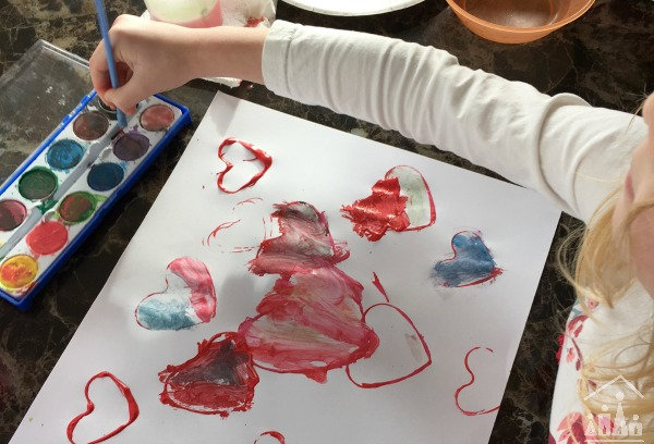 Valentines Watercolour Love Heart Art Project for Kids