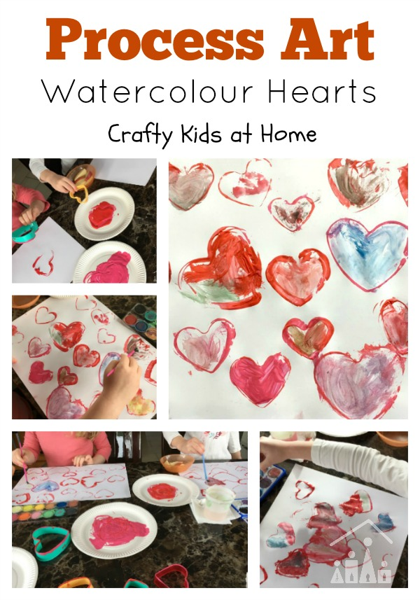 Watercolour Love Hearts Process Art Activity ideal Valentines Day