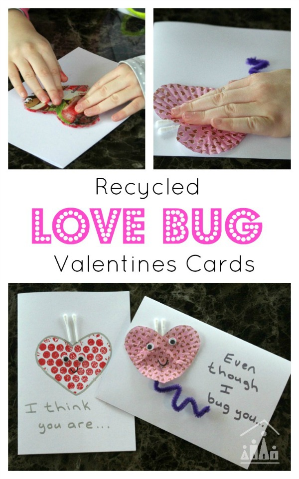 Recycled Love Bug Valentines Cards for Kids to make
