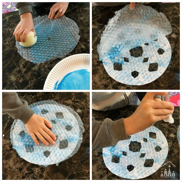 Making Bubble Wrap Snowflake art project