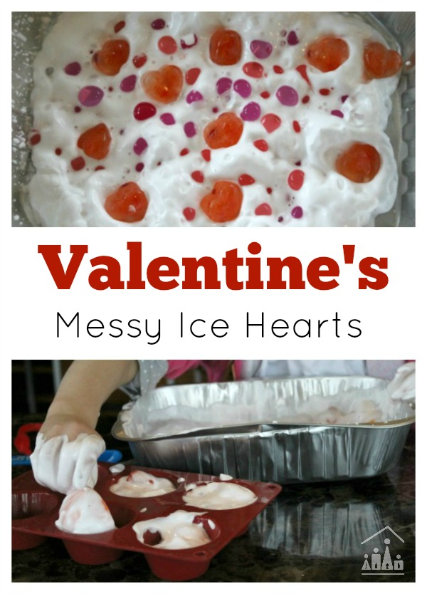 Valentines Messy Ice Hearts Sensory Play