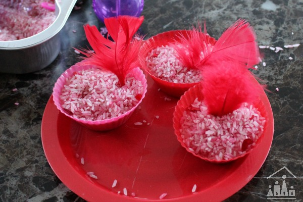 Valentines Sensory Rice Play activity