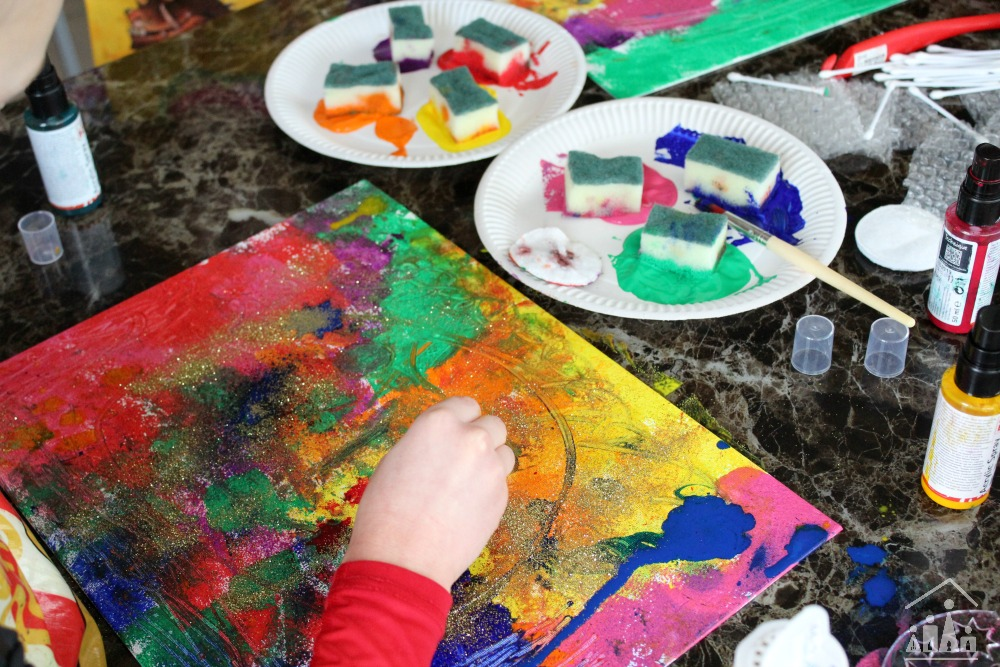 Kids Mixed Media Canvas Art Project