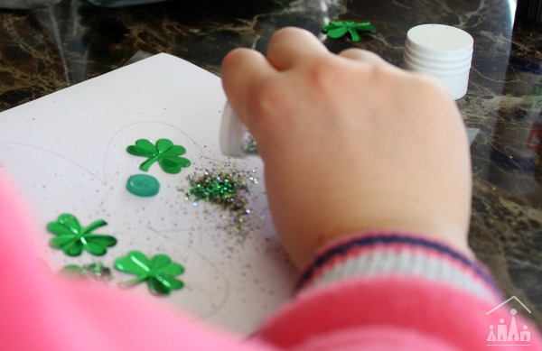Kid making a Shamrock Card