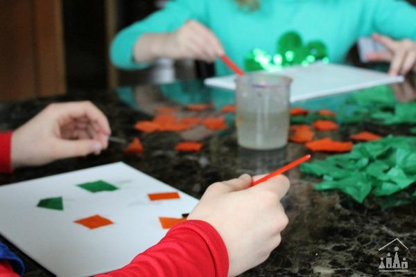 Bleeding tissue paper collage for kids