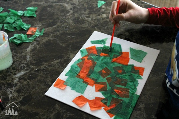 Tissue Paper collage for St Patrick's Day