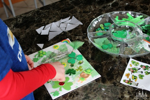 Decorating a St Patrick's Day art project