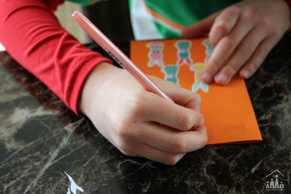 Child making an Easter card