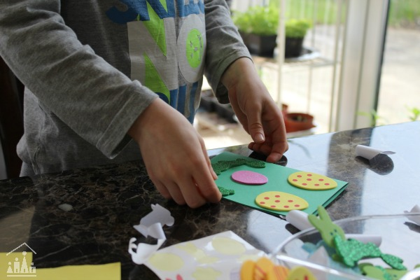 Kids making home-made cards