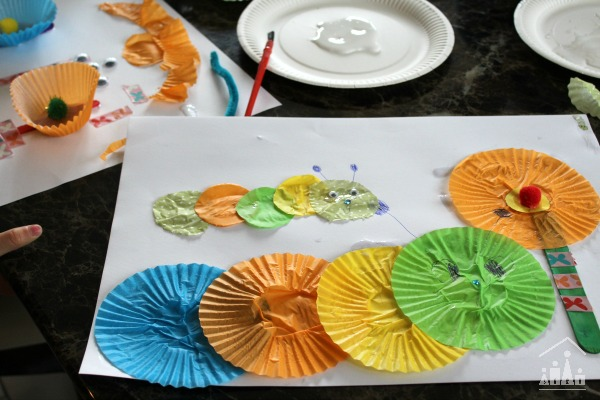 Caterpillar picture made with cupcake liners