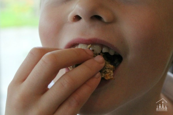 Child eating a Banana and Oat Cookie